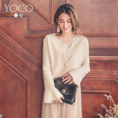 東京著衣-yoco 韓風名媛喇叭袖珍珠釦針織外套-S.M.L(共二色)