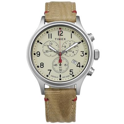 TIMEX 天美時 美國品牌INDIGLO專利冷光照明帆布真皮手錶-米色/42mm