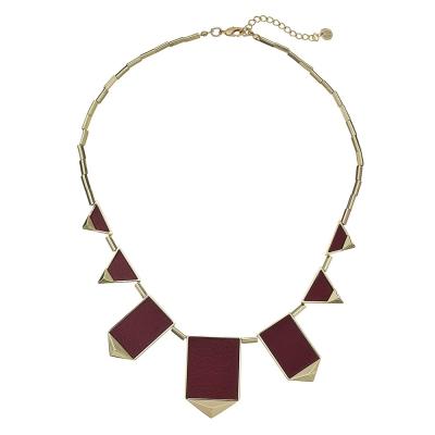 House of Harlow 1960 立體金字塔飾邊 三角幾何金項鍊 深紅色皮革