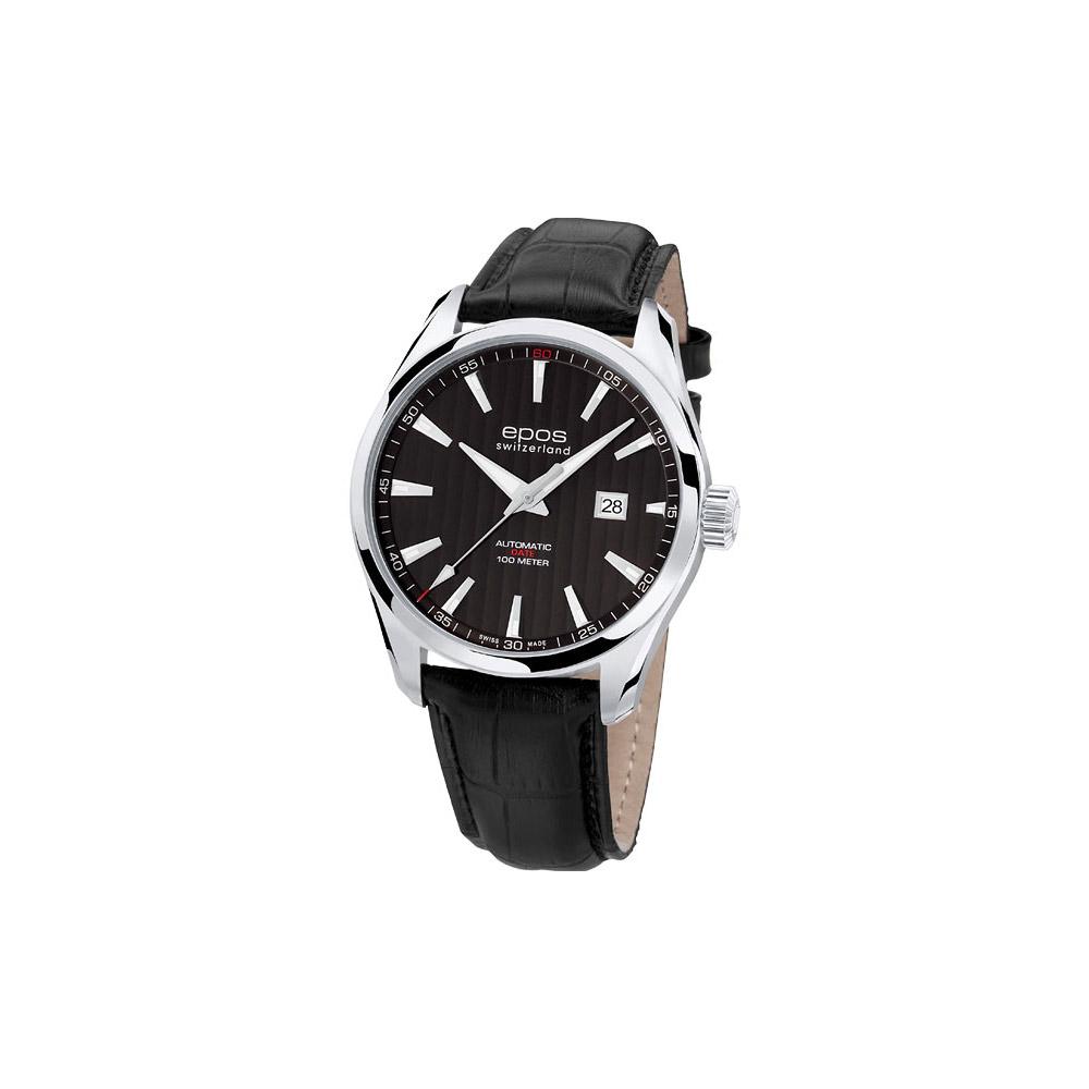 epos 極簡風大三針 Date 機械腕錶-黑/43mm