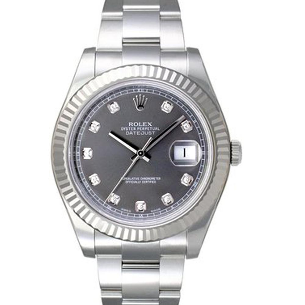 ROLEX 勞力士 116334 DeteJust II 鑽面日誌型腕腕錶-灰/41mm