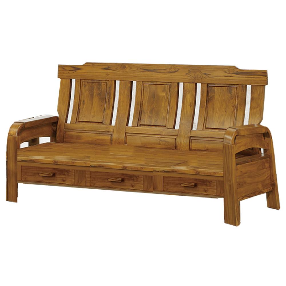 品家居 米魯柏木實三人收納椅-188x70x101cm-免組 @ Y!購物