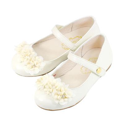 Swan天鵝童鞋-真皮可愛小花花公主鞋 3826-米