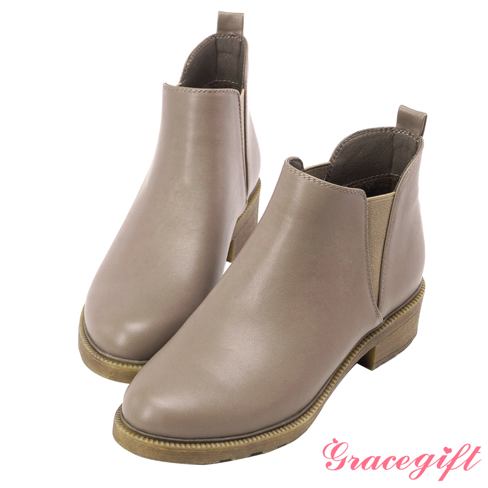 Grace gift-簡約側鬆緊帶短靴 卡其