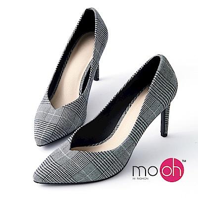 mo.oh-英倫復古格紋高跟鞋-灰色