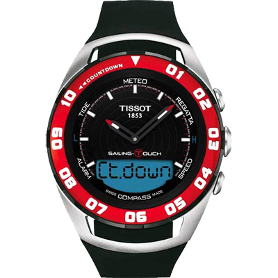 TISSOT Sailing Touch 風帆專業觸控腕錶-黑x紅框/45mm
