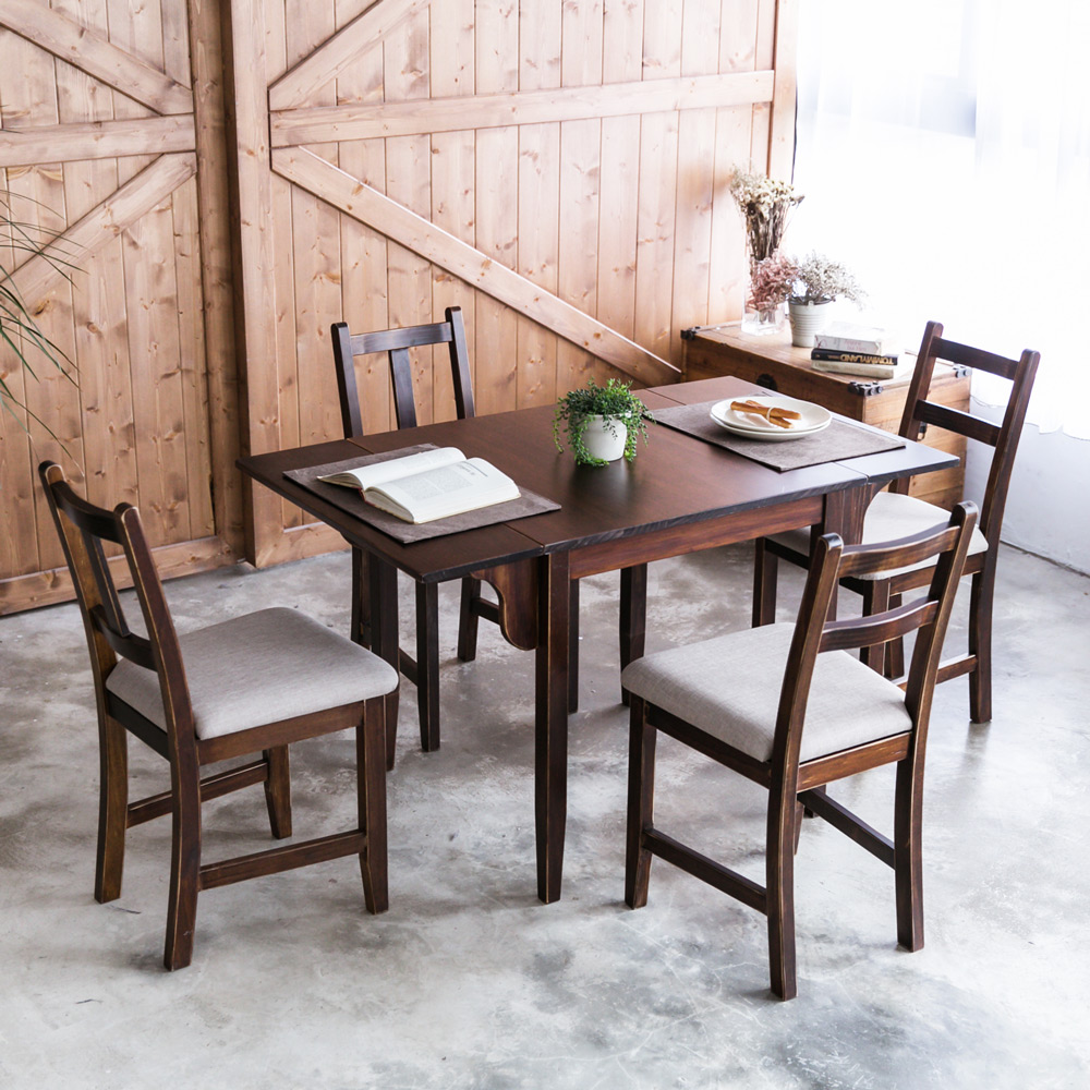 CiS自然行-雙邊延伸實木餐桌椅組一桌四椅74x122公分焦糖+淺灰椅墊
