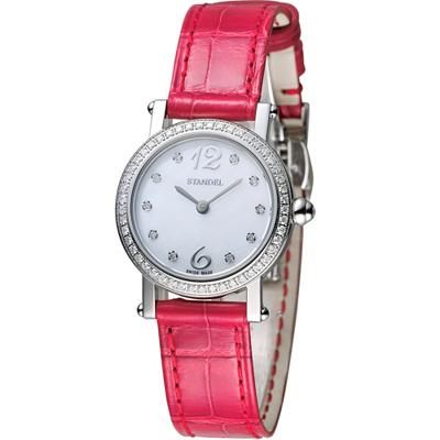 Standel Luxury 60週年紀念款頂級真鑽系列-銀色x紅色/28x25mm