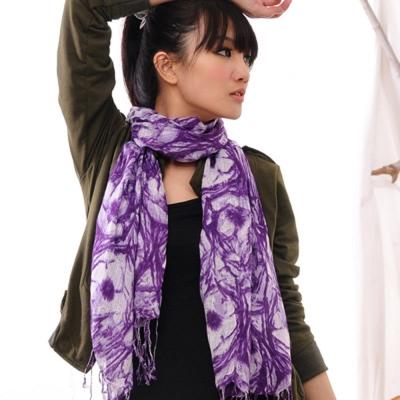 Aimee Toff 藝術夢幻質感染印圍巾(紫)