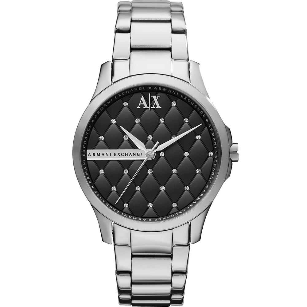 A│X Armani Exchange Lady 菱格紋晶鑽腕錶-黑/36mm