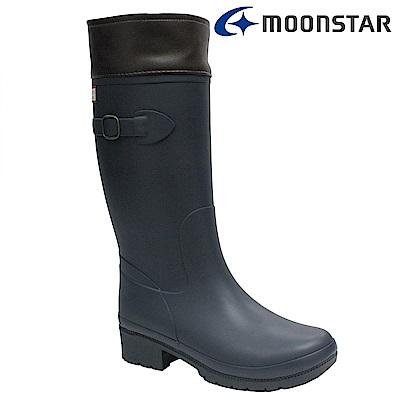 Moonstar日本 女 長筒保暖雨靴(深藍)