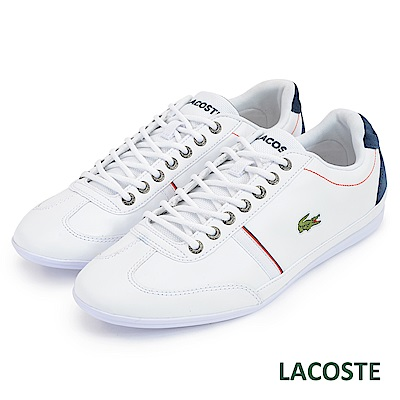 LACOSTE 男用真皮休閒鞋-白
