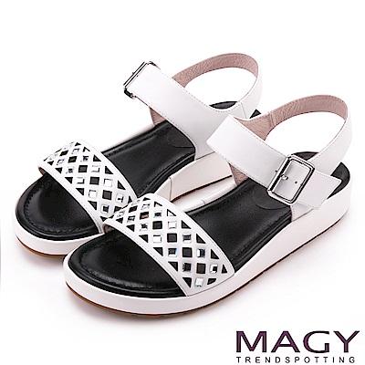 MAGY 休閒渡假風 寬版菱形簍空真皮厚底涼鞋-白色