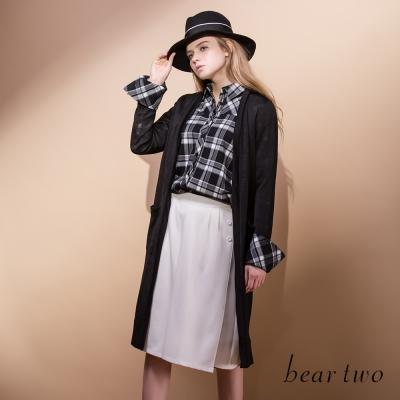 beartwo簡約異材質拼接長版開襟罩衫-黑色