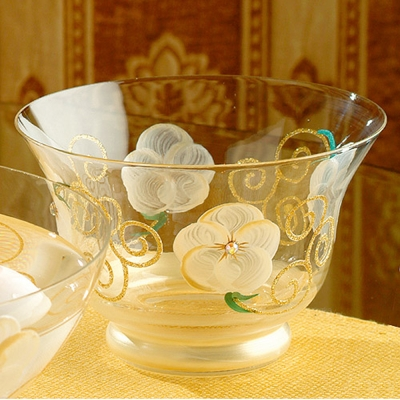 Madiggan玫瑰系列手工彩繪開運玻璃燭杯(紫.金黃.粉紅可選)