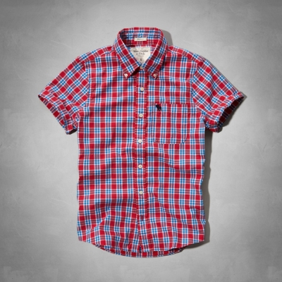 AF a&f Abercrombie & Fitch 短袖 襯衫 紅色 284