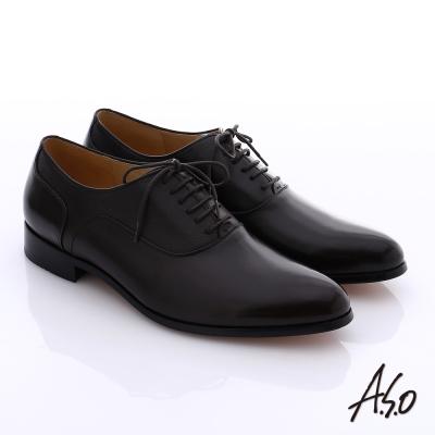 A.S.O 尊榮青紳 全牛皮綁帶紳士鞋 咖啡色