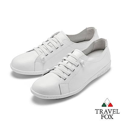 TRAVEL FOX(女) 踏實玩家 超軟牛皮極舒適免綁帶休閒鞋 - 享樂自白