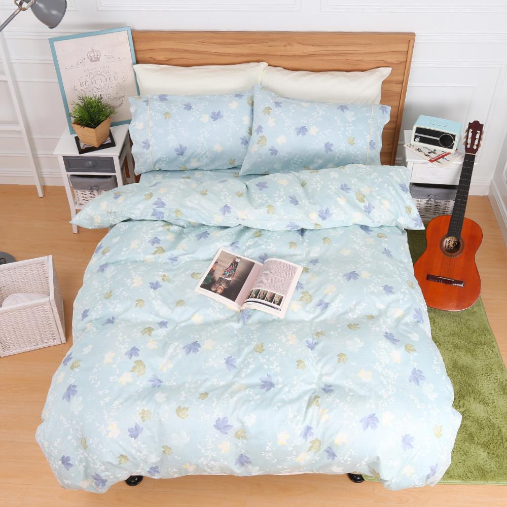 鴻宇HongYew 100%精梳棉 楓情萬種 雙人加大四件式薄被套床包組