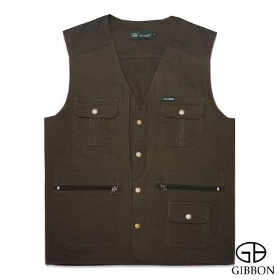 GIBBON 經典樂活素色多口袋背心‧橄欖綠L~4L