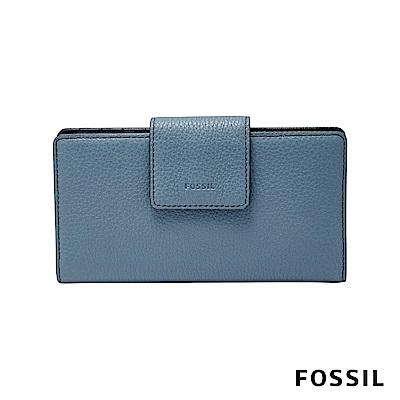 FOSSIL EMMA 真皮帶扣皮夾 中夾-霧藍色