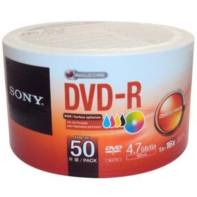 SONY 16X 4.7GB DVD-R 3760dpi 珍珠白滿版可印式 (50片裸裝)
