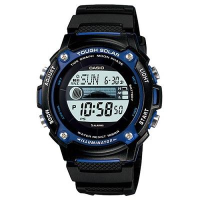 CASIO 太陽能月齡潮汐全方位運動膠帶數位錶(W-S210H-1A)-44mm