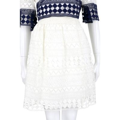 PHILOSOPHY 米白色縷空織花及膝裙