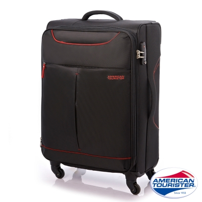AT美國旅行者 31吋Sky商務休閒可擴充布面TSA行李箱(黑/紅)