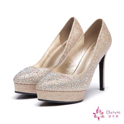 達芙妮DAPHNE-高跟鞋-前高後高水鑽金蔥尖頭鞋-金8H