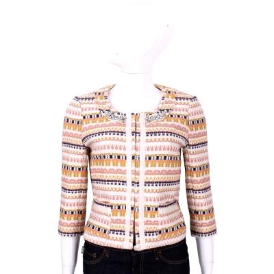 BLUGIRL 多彩織紋鑽飾七分袖外套