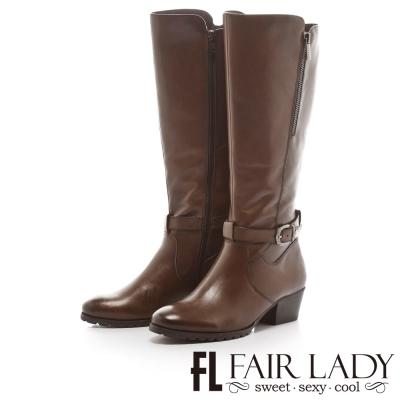 Fair Lady 女騎士飾扣帶低跟長筒靴 咖啡