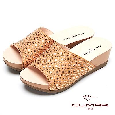 CUMAR奢華水鑽-大面積水鑽排列厚底拖鞋-金色