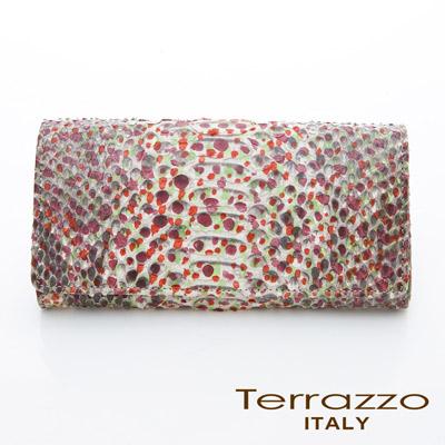 【義大利Terrazzo】品牌主打貴氣蟒蛇皮釦式長夾 - 橙紅色 72P1846C