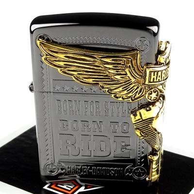 【ZIPPO】日系~Harley-Davidson-哈雷-鍍鈦黑蝕刻加工打火機