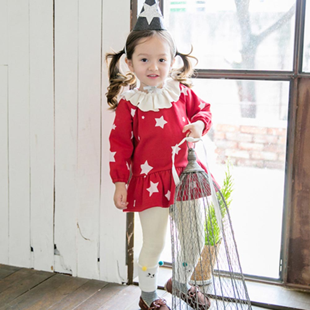 BEBEZOO 韓國 紅白星星荷葉領內刷毛長袖套裝2件組