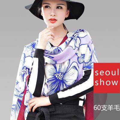 Seoul Show 映花夜語純羊毛圍巾披肩2色   紅紫色