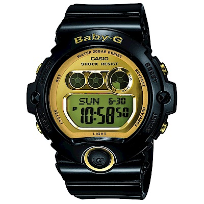 BABY-G 閃耀光澤行動派甜心休閒數位錶(BG-6901-1)-迷人金x黑/45mm