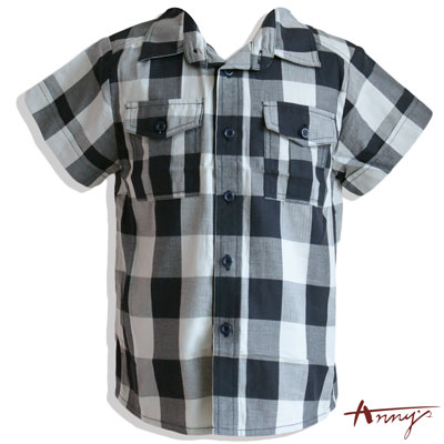 俊挺經典格紋雙口袋短袖襯衫*2380灰