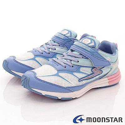 日本月星頂級競速童鞋 魔動爪彈力系列 7369藍白(中大童段)