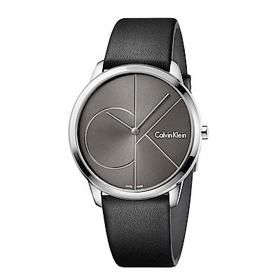 CK CALVIN KLEIN Minimal  系列cK Logo 錶盤小牛皮錶手錶-40mm