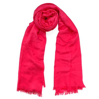 COACH果紅色C Logo棉絲寬版長圍巾( 206 x 64 )
