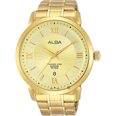 ALBA雅柏 爵士時尚手錶(AS9E88X1)-金/44mm