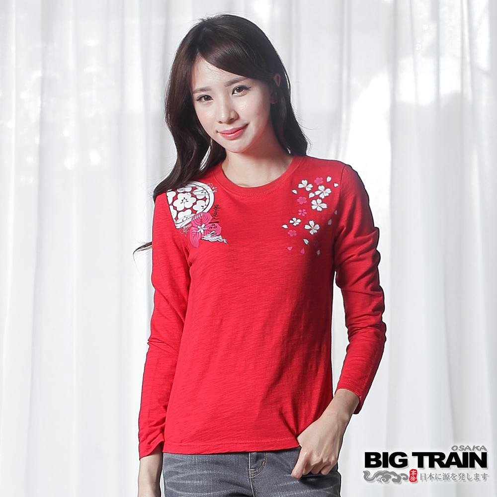 BIG TRAIN 月兔女款長袖T-女-紅色