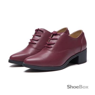 達芙妮DAPHNE-ShoeBox系列-牛津鞋-基本款綁帶粗跟尖頭鞋-酒紅8H