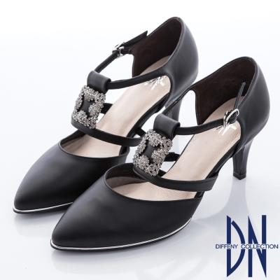 DN-華麗注目-方形鑽飾繫帶尖頭高跟鞋-黑