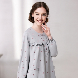 羅絲美睡衣 - 秋冬玩美長袖洋裝睡衣 (灰色)