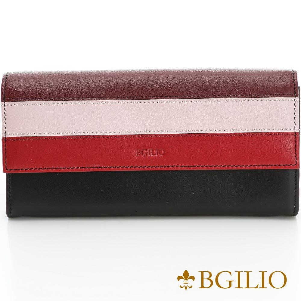 義大利BGilio-NAPPA牛皮經典條紋扣式長夾-黑色-1942.324-05