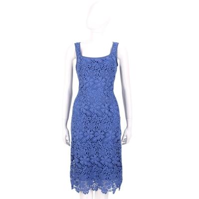ALBERTA FERRETTI 藍色織花蕾絲背心洋裝