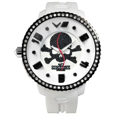 MORRIS K 海盜情緣 骷顱圖騰休閒錶(MK13075-DB04)-白/45mm